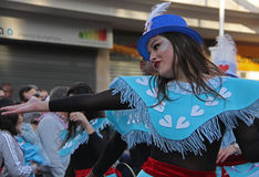 Carnaval Parade. A dancer performing at a parade during a carnaval in Loule, Portugal 26 Feb 2017 No model release Editorial use only Stock Photography