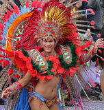 Carnaval Parade. A dancer performing at a parade during a carnaval in Loule, Portugal 28 Feb 2017 No model release Editorial use only Stock Photos
