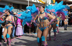 Carnaval Parade. Dancers performing at a parade during a carnaval in Loule, Portugal 26 Feb 2017 No model release Editorial use only Royalty Free Stock Images