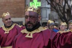 Carnaval-parade Madrid, 9 Februari, 2018 spanje stock fotografie