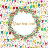 Carnaval, partij, de kaart van de verjaardagsgroet Plaats voor tekst, copyspace Vlaggen en hartenconfettien Jonge geitjes feestel vector illustratie