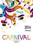 Carnaval-partijaffiche met verscheidene partijelementen vector illustratie
