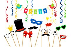 Carnaval party accessories. Masquerade masks and birthday photo booth props vector illustration royalty free illustration