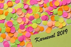Carnaval party background concept. Space for text, copyspace. Karneval 2019, in german language. Carnival party background concept, space for text. Written the royalty free stock images