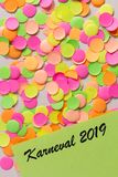Carnaval party background concept. Space for text, copyspace. Karneval 2019, in german language. Carnival party background concept, space for text. Written the royalty free stock image