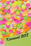 Carnaval party background concept. Space for text, copyspace. Written in german language: Karneval 2018. Carnival party background concept, space for text royalty free stock image