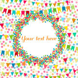 Carnaval, party, birthday greeting card. Place for text, copyspace. Flags and hearts confetti. Kids festive background with bright. Ribbons Stock Image