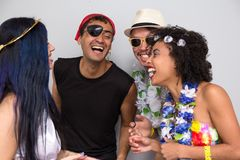 Carnaval party. Dressed Brazil people going to street Carnival. Happy brazilian in costume celebrating in parade festival royalty free stock image