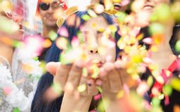 Carnaval party. Group of Brazil people in costume celebrating carnival in the city. Brazilian woman having fun in parade festival. Carnaval party. Group of royalty free stock photography