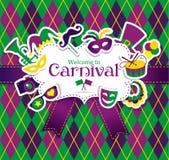 Carnaval-pictogrammen en naadloos patroon Stock Fotografie
