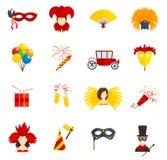 Carnaval-pictogrammen geplaatst vlak Stock Foto