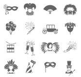 Carnaval-pictogrammen geplaatst zwart Stock Afbeeldingen