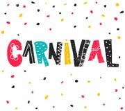 Carnaval popular de Brasil do evento Título com elementos coloridos do partido Confetes coloridos e rotulação tirada mão do grung ilustração stock