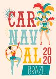 Carnaval poster design template.Brazil festival colorful greeting card or invitation. Carnaval Concept with women in festive. Costumes and fireworks. Vector royalty free illustration