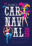 Carnaval poster design template.Brazil festival colorful greeting card or invitation. Carnaval Concept with women in festive. Costumes and fireworks. Vector vector illustration