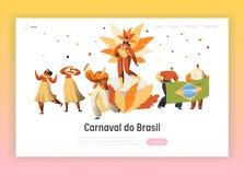 Carnaval Samba Dancer Character Landing Page de Brasil Dança da mulher do homem no festival exótico latino brasileiro parada foto de stock royalty free