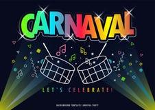 Carnaval titel med det färgrika partiet royaltyfri illustrationer