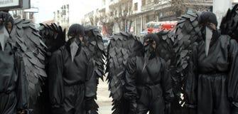 Carnaval tradicional de las máscaras en ocasión del día de fiesta ortodoxo Prochka del perdón en la ciudad de Prilep, Macedonia imagenes de archivo