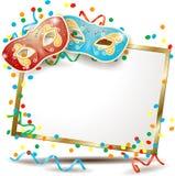 Carnaval-uithangbord met twee maskers Royalty-vrije Stock Fotografie
