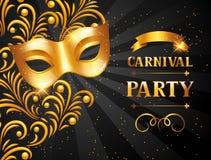 Carnaval-uitnodigingskaart met gouden masker De achtergrond van de vieringspartij vector illustratie