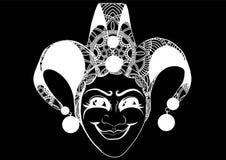 Carnaval v?nitien d?cor?, masque de farceur avec des cloches et scintillement d'or, illustration de vecteur de style de croquis illustration stock
