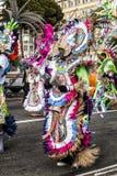 Carnaval van Nice, Bloemen` slag Parade van traditionele kostuums van Polynesia Royalty-vrije Stock Foto's