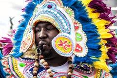 Carnaval van Nice, Bloemen` slag Parade van traditionele kostuums van Polynesia Stock Afbeelding