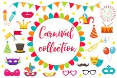 Carnaval, vastgesteld het ontwerpelement van het partijpictogram Maskerade, Fotocabine in moderne vlakke stijl Geïsoleerdj op wit Royalty-vrije Stock Afbeeldingen