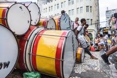 Carnaval-viering in Pelourinho in Salvador Bahia, Brazilië royalty-vrije stock foto