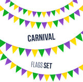 Carnaval-vlaggen geplaatst die op witte achtergrond worden geïsoleerd Stock Afbeeldingen