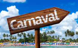 Carnaval wooden sign on the beach Stock Images