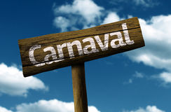 Carnaval wooden sign on blue sky Royalty Free Stock Photos