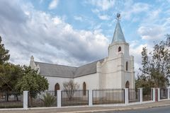 Historic Rhenish Church in Carnavon in the Northern Cape. CARNAVON, SOUTH AFRICA, SEPTEMBER 1, 2018: The historic Rhenish Church in Carnavon in the Northern Cape royalty free stock image