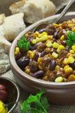 Carne жулика Chili в шаре Стоковые Изображения