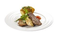 ?carne 一个传统西班牙盘 免版税库存照片