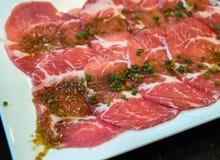 Carne affettata con salsa speciale Fotografia Stock