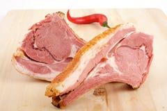 Carne affumicata sulle nervature Immagine Stock