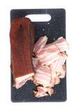 Carne ahumada hecha en casa (tocino) Imagen de archivo