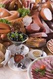 Carne ahumada y diversas salchichas Foto de archivo