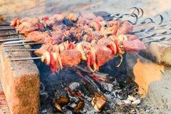 A carne amarrada em espetos é fritada sobre um fogo aberto Assado em carvões ardentes, em um feriado imagens de stock