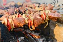 A carne amarrada em espetos é fritada sobre um fogo aberto Assado em carvões ardentes, em um feriado imagem de stock