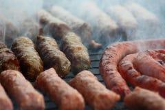 Carne arrostente col barbecue sul fuoco del carbone Immagini Stock Libere da Diritti