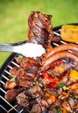 Carne arrostita deliziosa con la verdura su una griglia del barbecue Immagini Stock Libere da Diritti