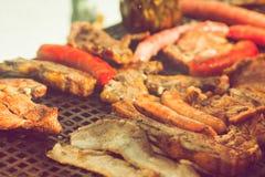 Carne arrostita e salsiccia Fotografia Stock