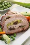 Carne arrostita farcita con le verdure Fotografia Stock