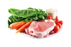 Carne, arroz e vegetais Fotografia de Stock