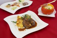 Carne asada con Pumpkinsoup fotografía de archivo