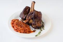 Carne asada de cerdo con las verduras Imágenes de archivo libres de regalías