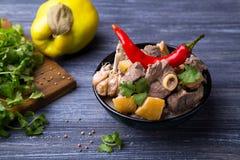 Carne asada de cordero con el membrillo Imagen de archivo