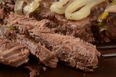 Carne asada de crisol rebanada Fotos de archivo
